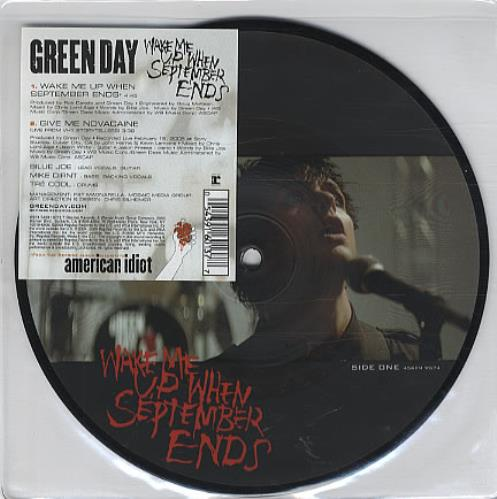 "Green Day Wake Me Up When September Ends 7"" vinyl picture disc 7 inch picture disc single UK GRN7PWA326699"