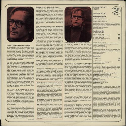 Gunnar Bucht Gunnar Bucht : Komponist I Sverige vinyl LP album (LP record) Swedish 294LPGU763840