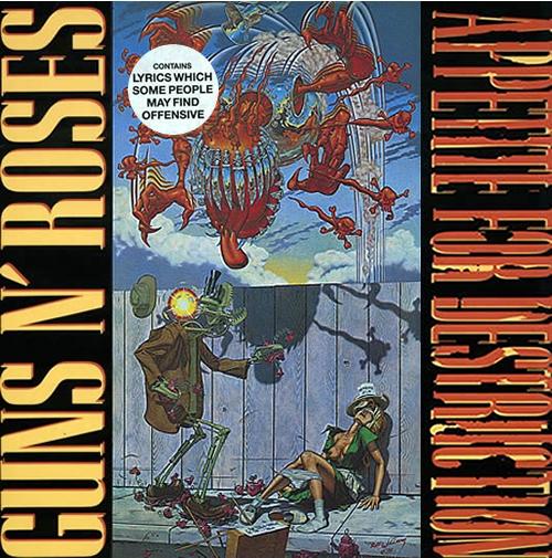 Guns N Roses Appetite For Destruction - 1st & Cross Sticker vinyl LP album (LP record) UK GNRLPAP273387