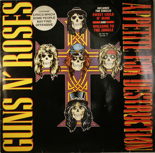 Guns N Roses Appetite For Destruction - 2nd - Stickered vinyl LP album (LP record) UK GNRLPAP554067