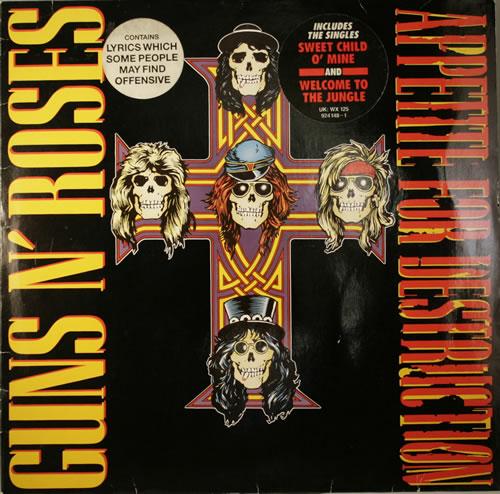 Guns N Roses Appetite For Destruction - Double stickered Cross vinyl LP album (LP record) UK GNRLPAP554067