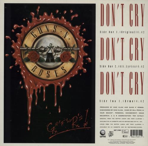 "Guns N Roses Don't Cry - EX 12"" vinyl single (12 inch record / Maxi-single) German GNR12DO753545"