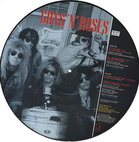 "Guns N Roses It's So Easy 12"" vinyl picture disc 12inch picture disc record UK GNR2PIT07789"