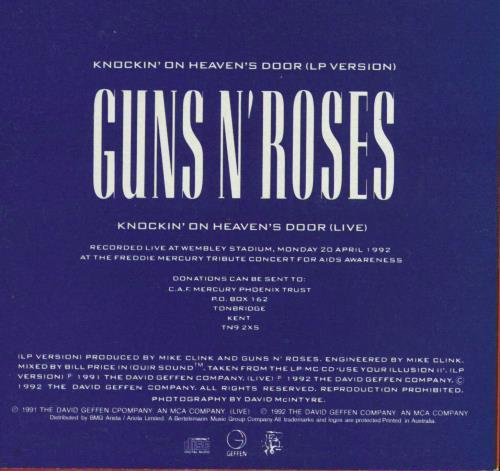 """Guns N Roses Knockin' On Heaven's Door CD single (CD5 / 5"""") Australian GNRC5KN770022"""
