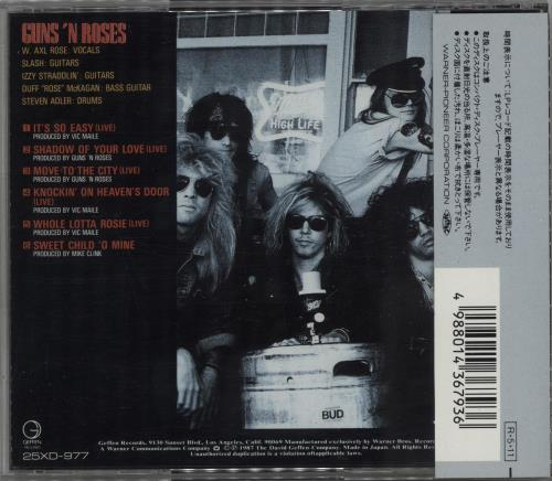 Guns N Roses Live EP + Obi CD album (CDLP) Japanese GNRCDLI06160