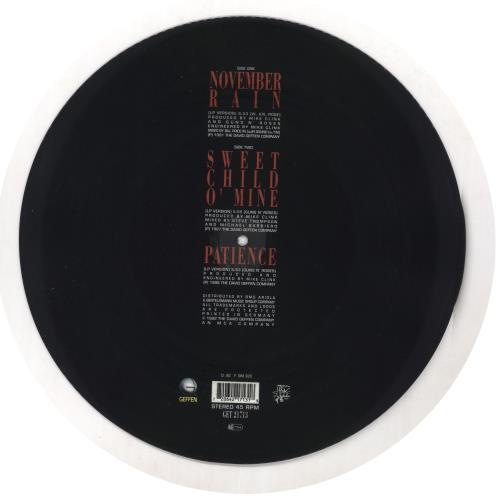 "Guns N Roses November Rain 12"" vinyl picture disc 12inch picture disc record German GNR2PNO02160"