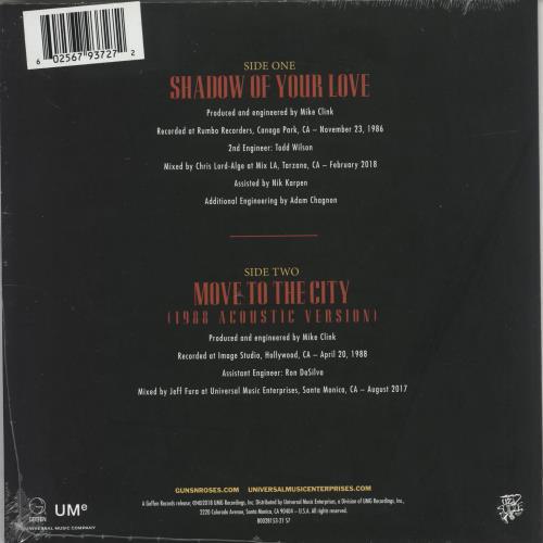 "Guns N Roses Shadow Of Your Love - RSD BF18 - Red Vinyl 7"" vinyl single (7 inch record) UK GNR07SH708661"