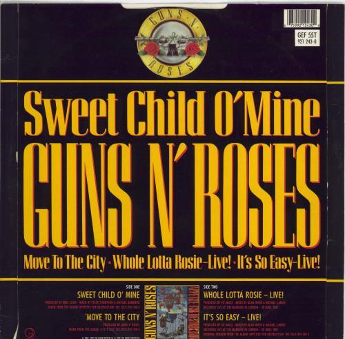 "Guns N Roses Sweet Child O Mine + Sleeve - EX 12"" vinyl single (12 inch record / Maxi-single) UK GNR12SW767435"