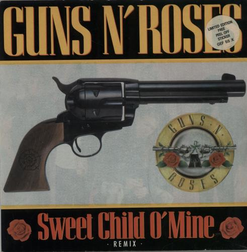 "Guns N Roses Sweet Child O Mine - Sticker Pack 7"" vinyl single (7 inch record) UK GNR07SW22386"