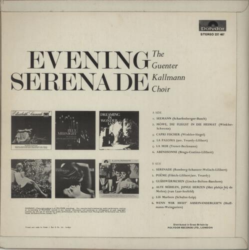 Gunter Kallmann Evening Serenade vinyl LP album (LP record) UK GUKLPEV682604