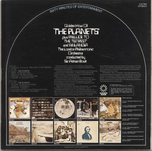 Gustav Holst Golden Hour Of The Planets vinyl LP album (LP record) UK GSVLPGO695690
