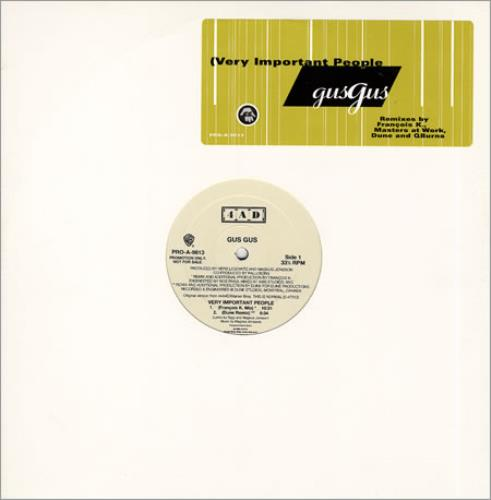 "Gus Gus Very Important People 12"" vinyl single (12 inch record / Maxi-single) US GGU12VE139377"