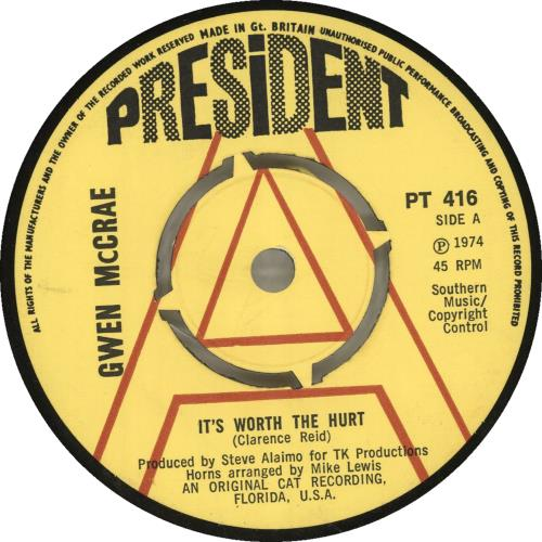 "Gwen McCrae It's Worth The Hurt - A Label 7"" vinyl single (7 inch record) UK GW007IT701979"