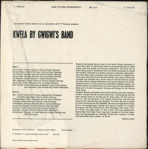 Gwigwi's Band Kwela vinyl LP album (LP record) UK 0WILPKW733594