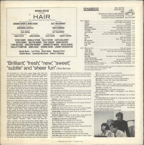 Hair (The Musical) Hair - Broadway Cast - Orange Label vinyl LP album (LP record) US 6HALPHA730878