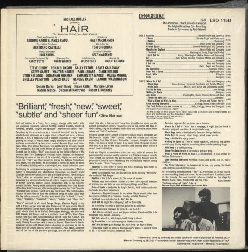Hair (The Musical) Hair - German version vinyl LP album (LP record) German 6HALPHA720522