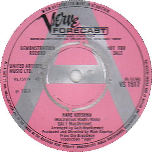 "Hair (The Musical) Hare Krishna - A Label 7"" vinyl single (7 inch record) UK 6HA07HA655578"