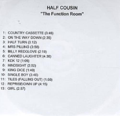 Half Cousin The Function Room CD-R acetate UK HCUCRTH317879