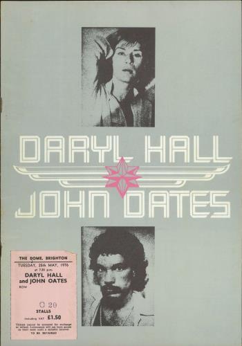 Hall & Oates 1975 Tour Programme + Ticket tour programme UK HNOTRTO770528