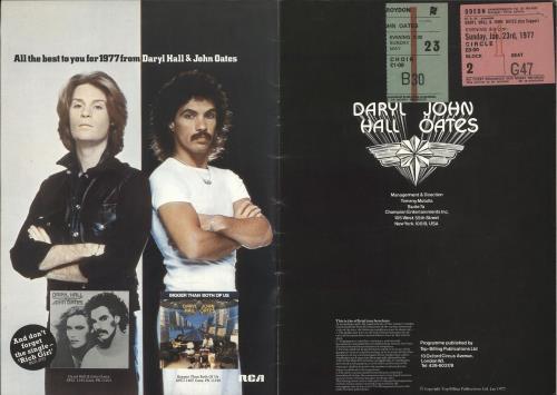 Hall & Oates '77 Tour + Two Ticket Stubs tour programme UK HNOTRTO721570