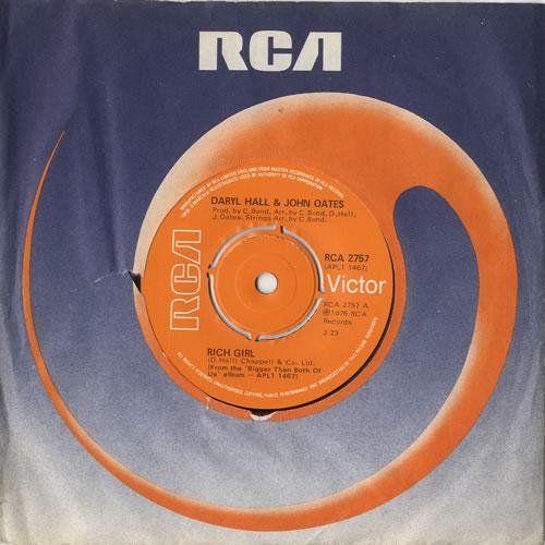 "Hall & Oates Rich Girl 7"" vinyl single (7 inch record) UK HNO07RI102561"