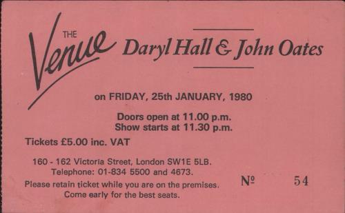 Hall & Oates The Venue 1980 concert ticket UK HNOTITH732063