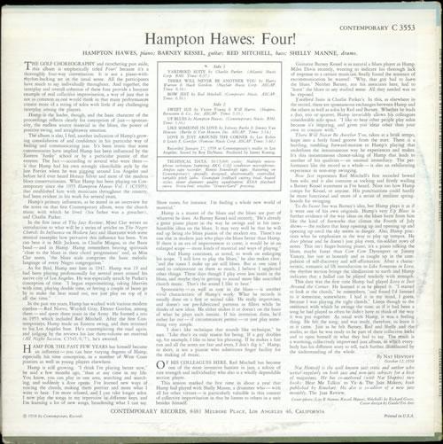 Hampton Hawes Four Dg Mono Us Vinyl Lp Album Lp Record