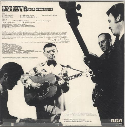 Hank Snow Sings Grand Ole Opry Favorites vinyl LP album (LP record) US HNWLPSI461003