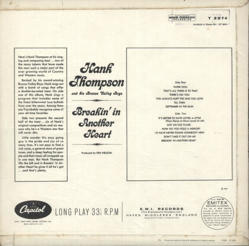 Hank Thompson Breakin' In Another Heart vinyl LP album (LP record) UK H/TLPBR720657