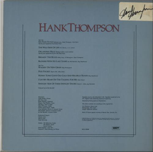 Hank Thompson Hank Thompson - Autographed vinyl LP album (LP record) US H/TLPHA653109