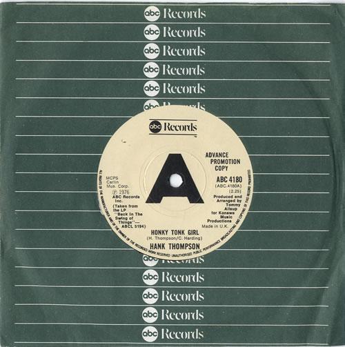 "Hank Thompson Honky Tonk Girl 7"" vinyl single (7 inch record) UK H/T07HO614664"