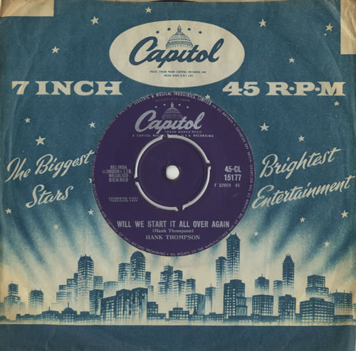"""Hank Thompson Will We Start It All Over Again 7"""" vinyl single (7 inch record) UK H/T07WI511681"""