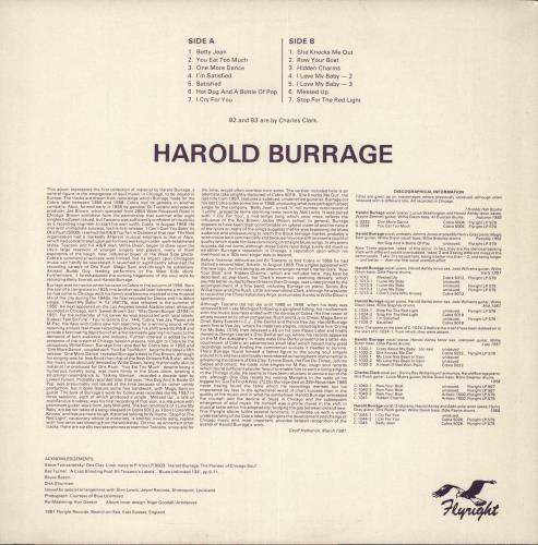 Harold Burrage She Knocks Me Out vinyl LP album (LP record) UK N90LPSH722923