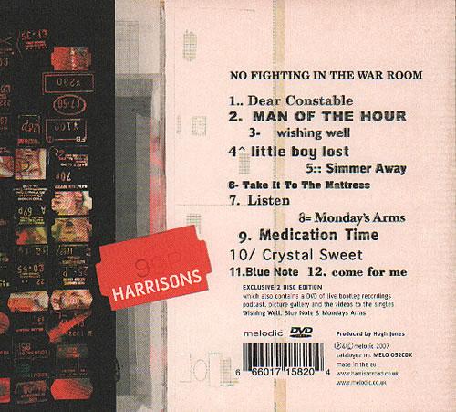 Harrisons No Fighting In The War Room 2-disc CD/DVD set UK HB52DNO637355