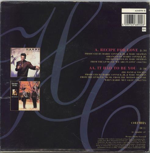 """Harry Connick, Jr. Recipe For Love - Poster sleeve 7"""" vinyl single (7 inch record) UK HCJ07RE767173"""