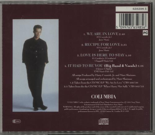 """Harry Connick, Jr. We Are In Love CD single (CD5 / 5"""") UK HCJC5WE680509"""