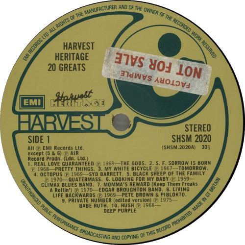 Harvest Label Harvest Heritage 20 Greats - Factory Sample vinyl LP album (LP record) UK HRVLPHA655653