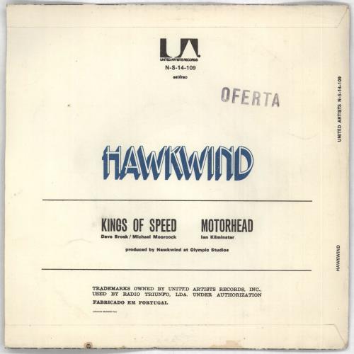 """Hawkwind Kings Of Speed EP 7"""" vinyl single (7 inch record) Portugese HWK07KI727715"""