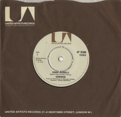 "Hawkwind Urban Guerrilla 7"" vinyl single (7 inch record) UK HWK07UR197372"
