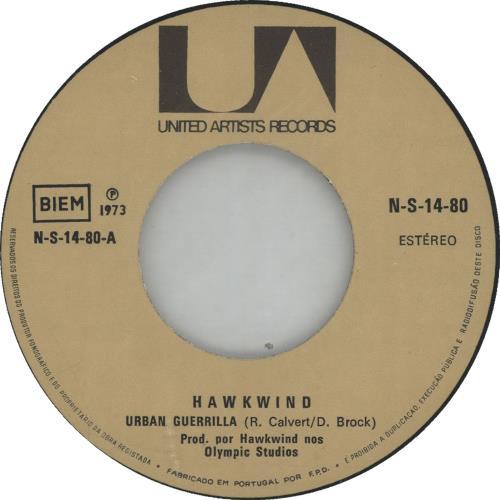 "Hawkwind Urban Guerrilla 7"" vinyl single (7 inch record) Portugese HWK07UR647689"
