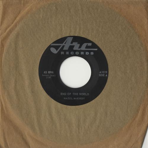 """Hazel McKirdy End Of The World + Press Release 7"""" vinyl single (7 inch record) Canadian HZM07EN468961"""