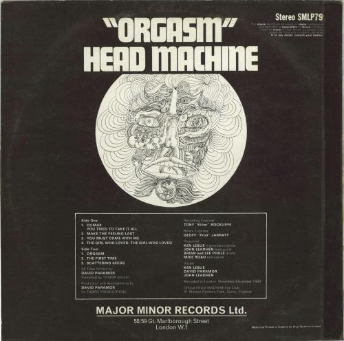 Head Machine Orgasm vinyl LP album (LP record) UK IHCLPOR652538
