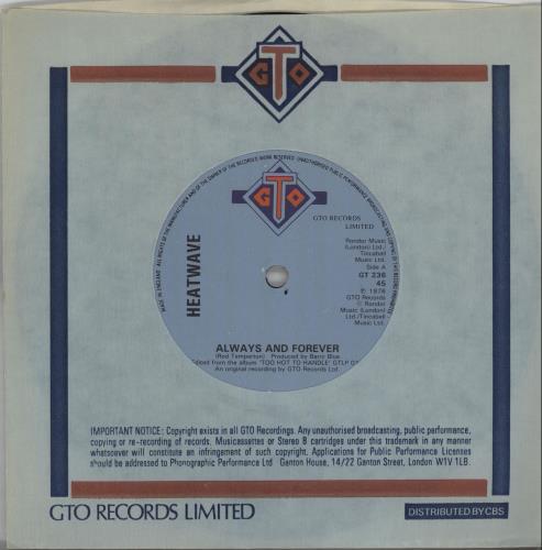 "Heatwave Always And Forever 7"" vinyl single (7 inch record) UK HAQ07AL565714"