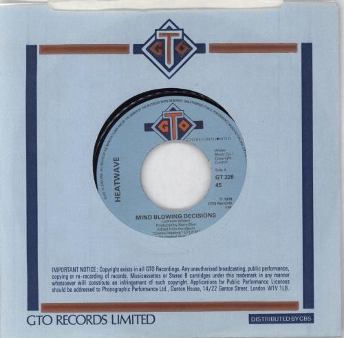 "Heatwave Mind Blowing Decisions - Wide Centre 7"" vinyl single (7 inch record) UK HAQ07MI746311"