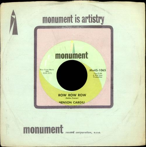 "Henson Cargill Row Row Row 7"" vinyl single (7 inch record) US HNG07RO511412"