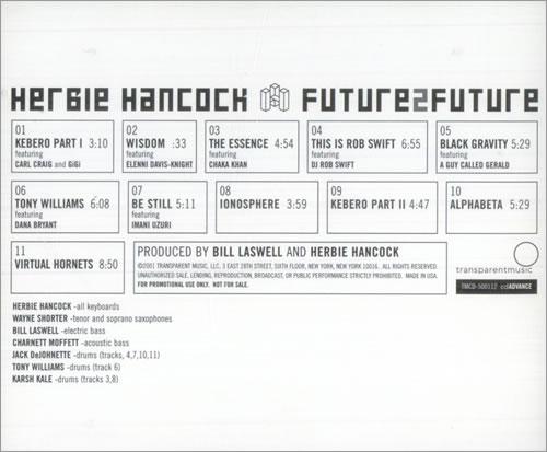 Herbie Hancock Future 2 Future CD album (CDLP) US HHACDFU516601