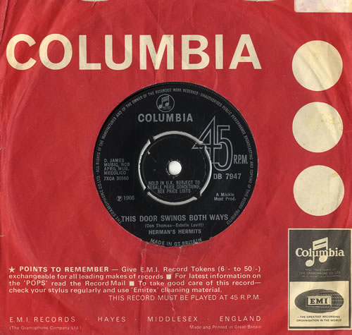 "Herman's Hermits This Door Swings Both Ways 7"" vinyl single (7 inch record) UK HMH07TH555500"