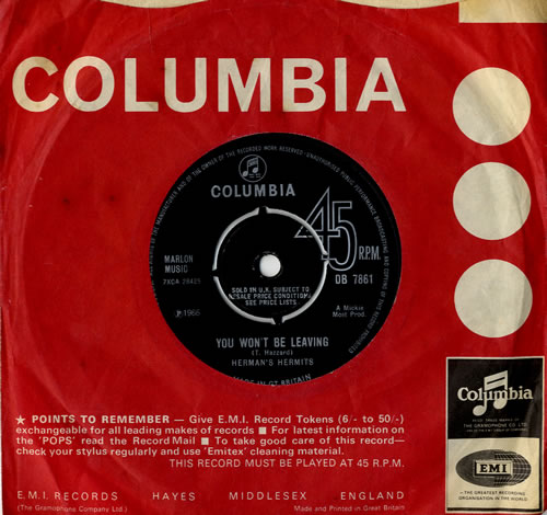 "Herman's Hermits You Won't Be Leaving 7"" vinyl single (7 inch record) UK HMH07YO555501"