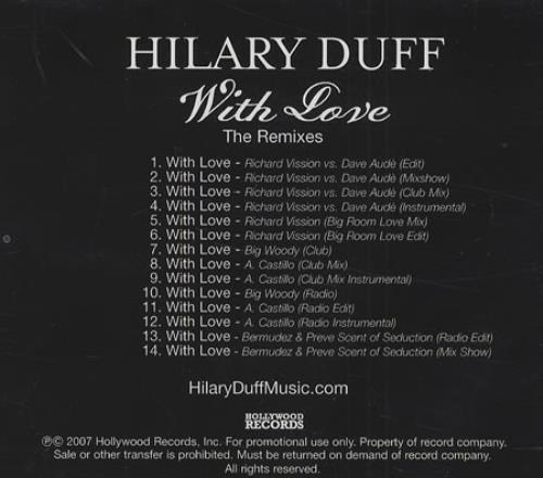 Hilary Duff With Love - The Remixes - 14 Mixes CD-R acetate US HA-CRWI409992