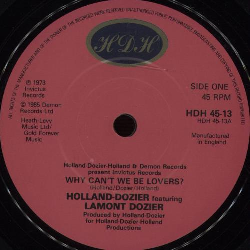 "Holland-Dozier Why Can't We Be Lovers 7"" vinyl single (7 inch record) UK H-D07WH672058"